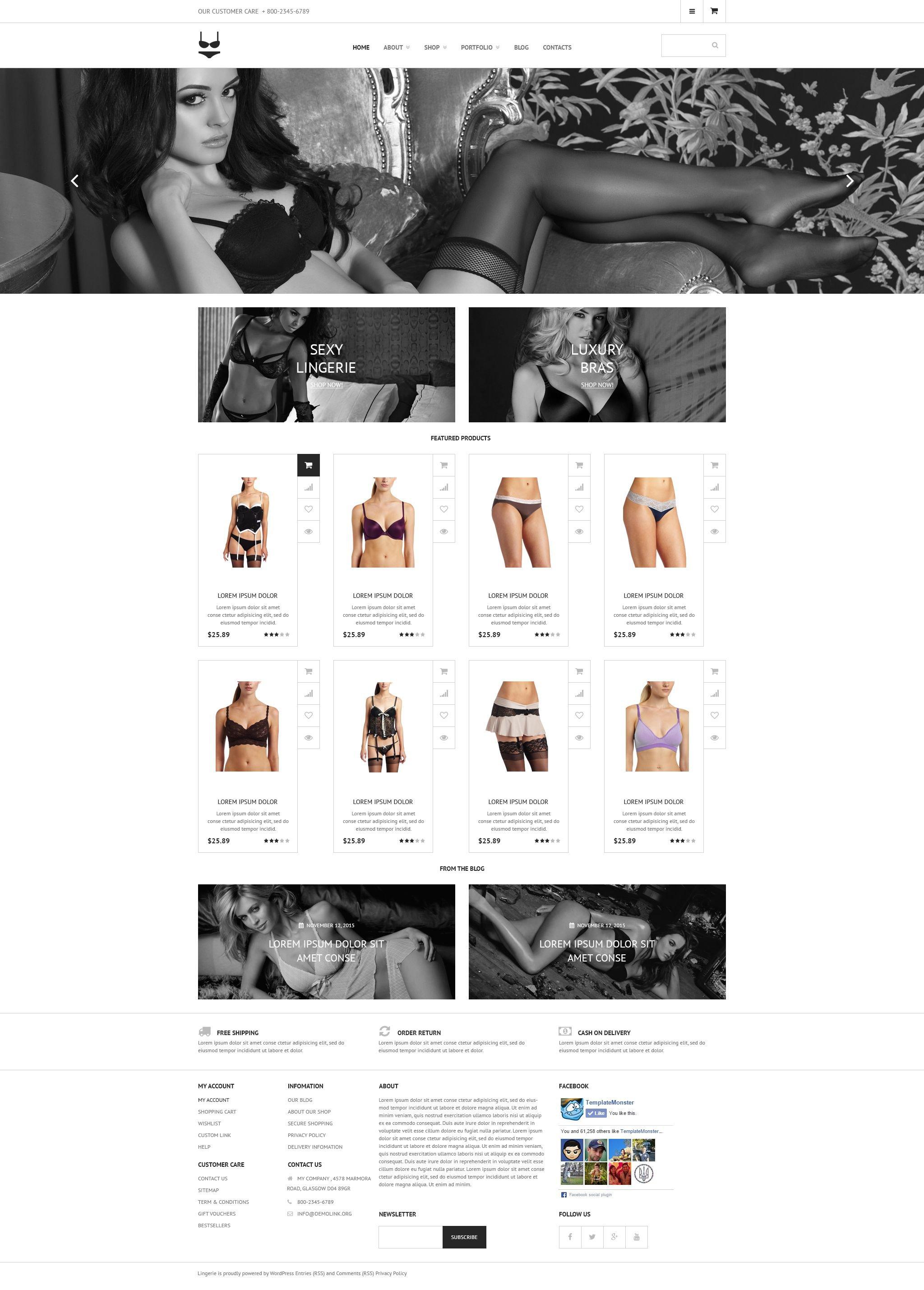 """Intimate Apparel"" - адаптивний WooCommerce шаблон №53656 - скріншот"
