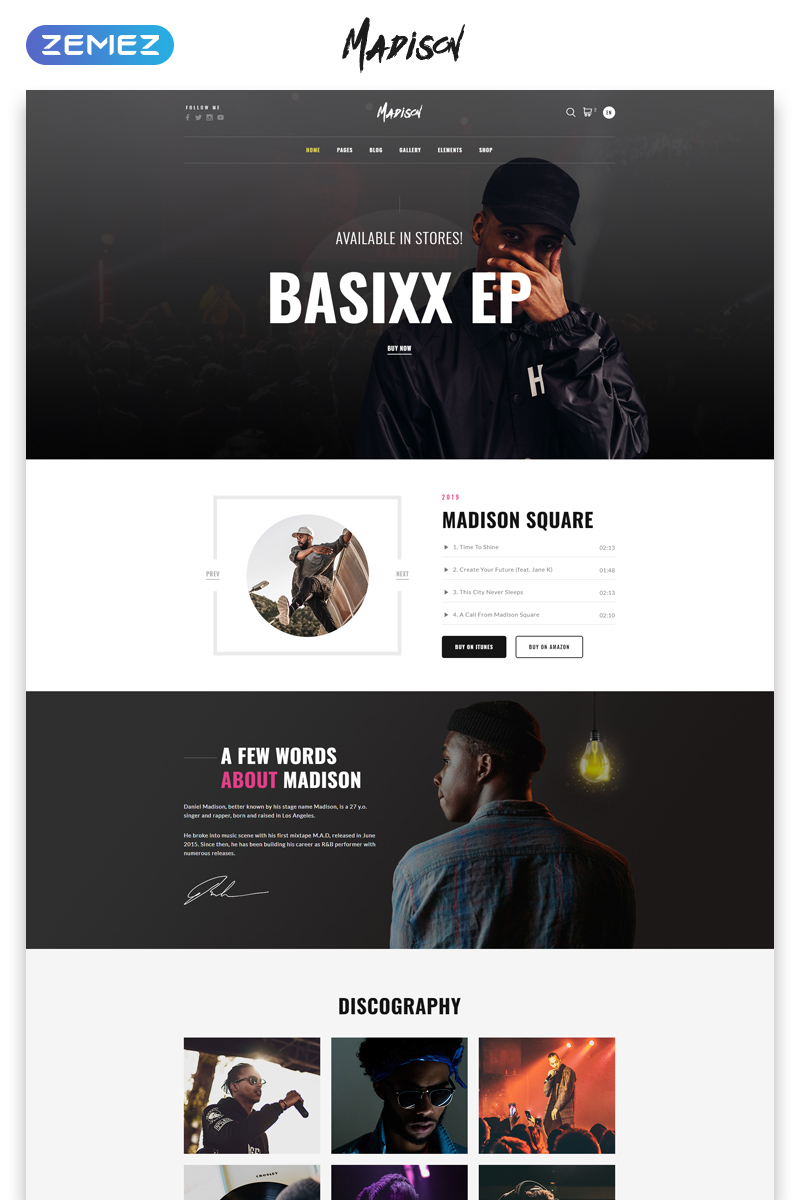 """""""Madison - Music Band Multipage Modern HTML"""" Responsive Website template №53647"""