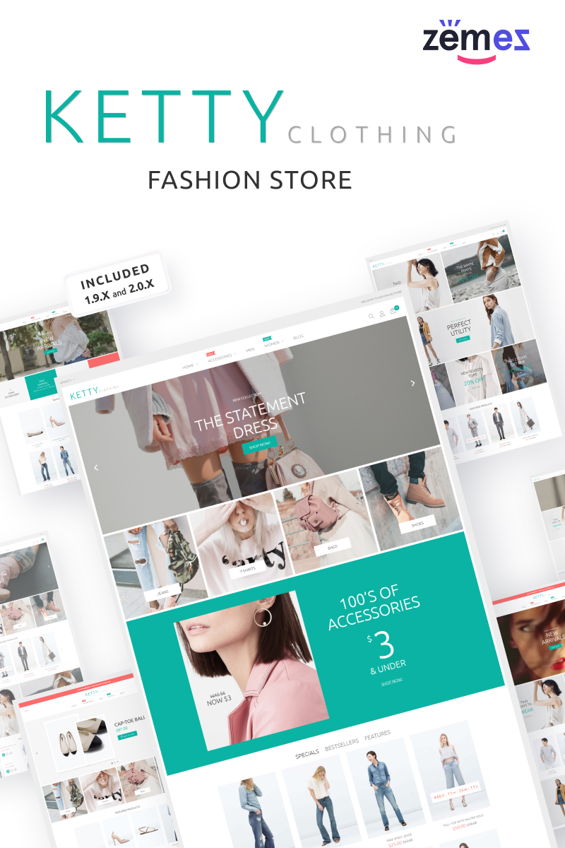 """Magasin de vêtements de mode"" thème Magento adaptatif #53638 - screenshot"