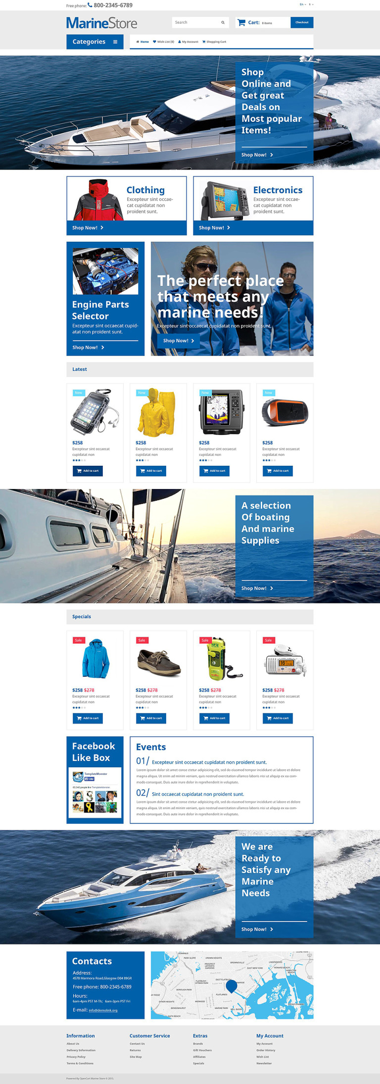 Marine Store OpenCart Template New Screenshots BIG