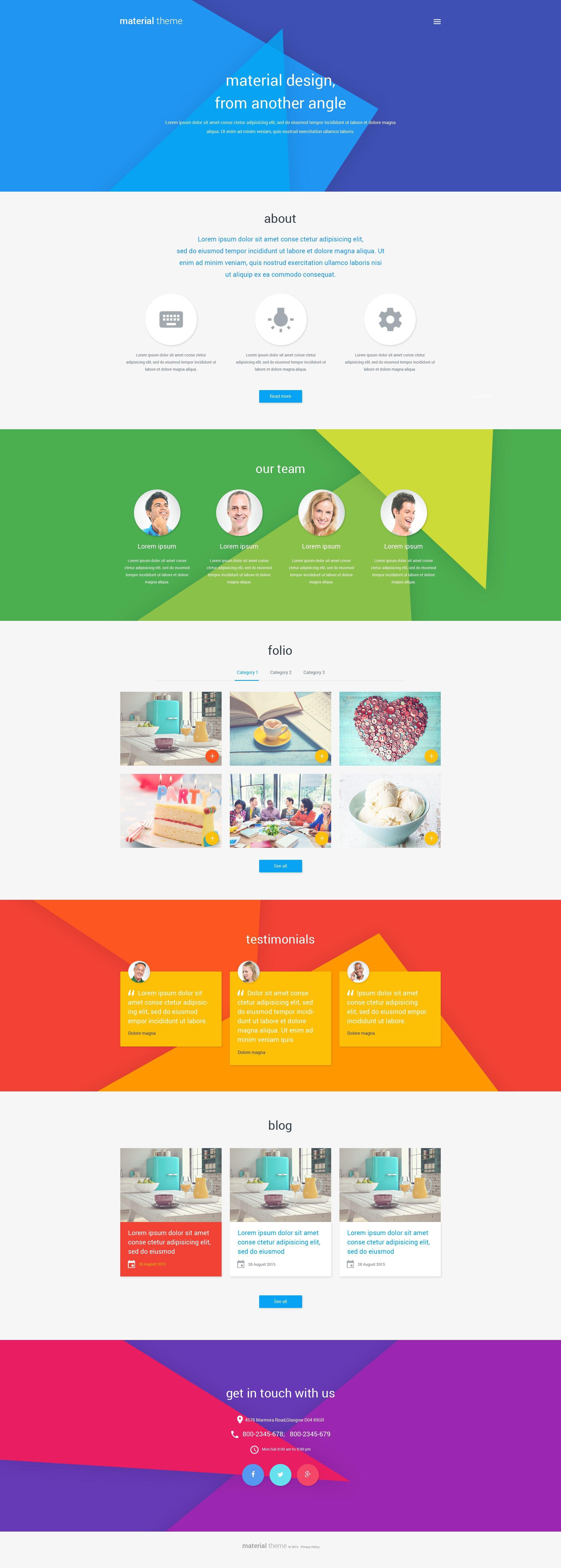 Material Design Portfolio WordPress Theme - screenshot