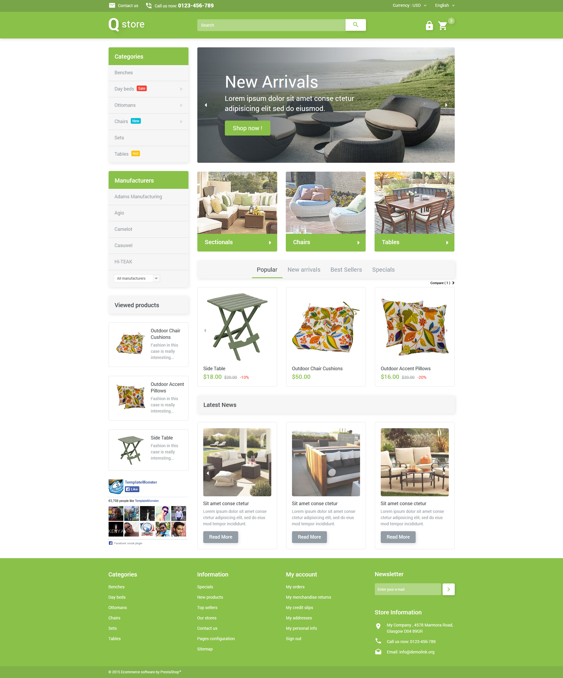 Th me prestashop adaptatif 53694 pour site de meubles for Site ameublement