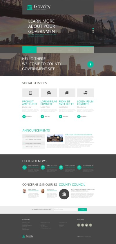 Modèle Moto CMS HTML  pour site de gouvernement