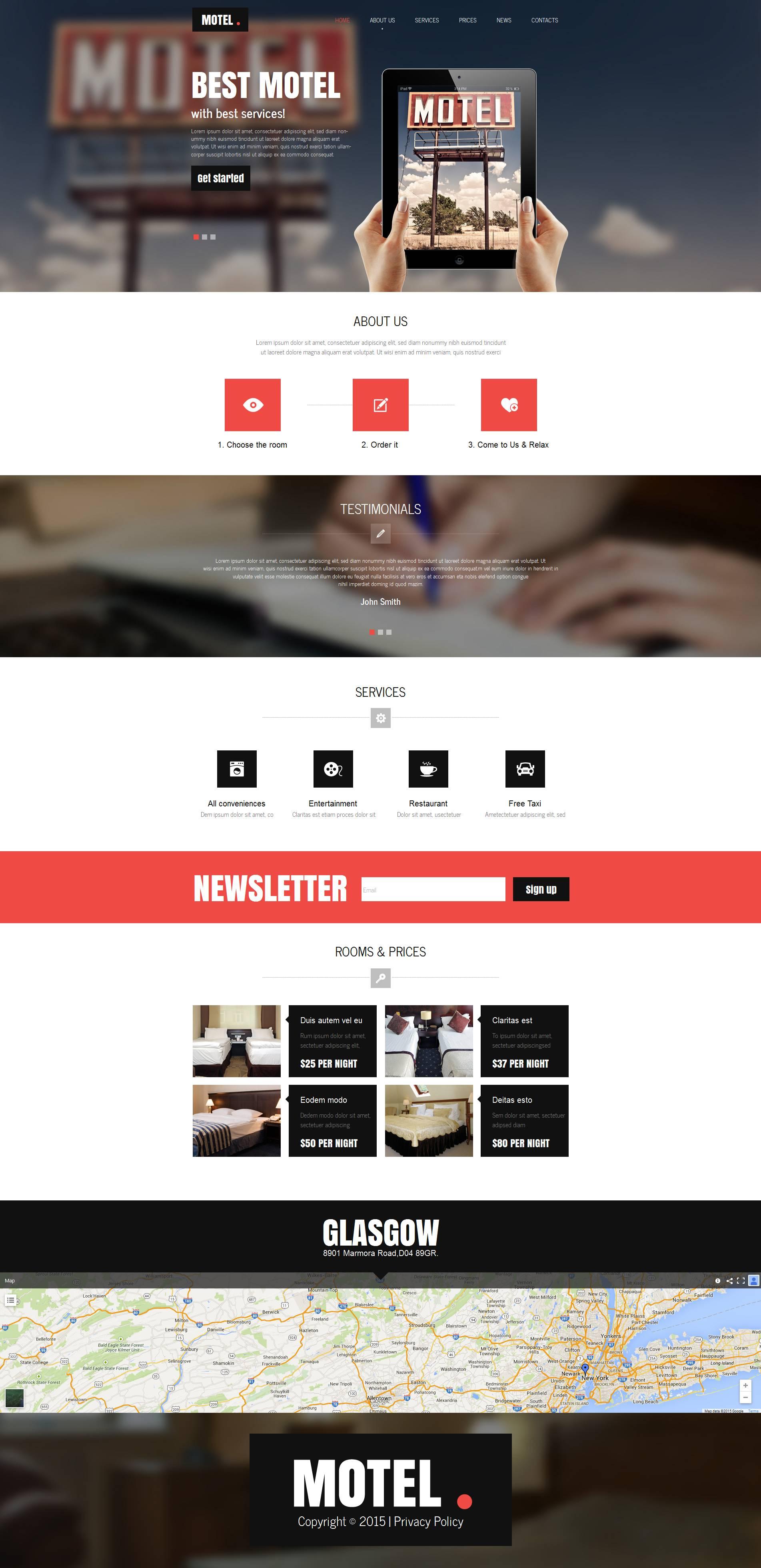 Modèle Moto CMS HTML Premium pour site de motel #53629