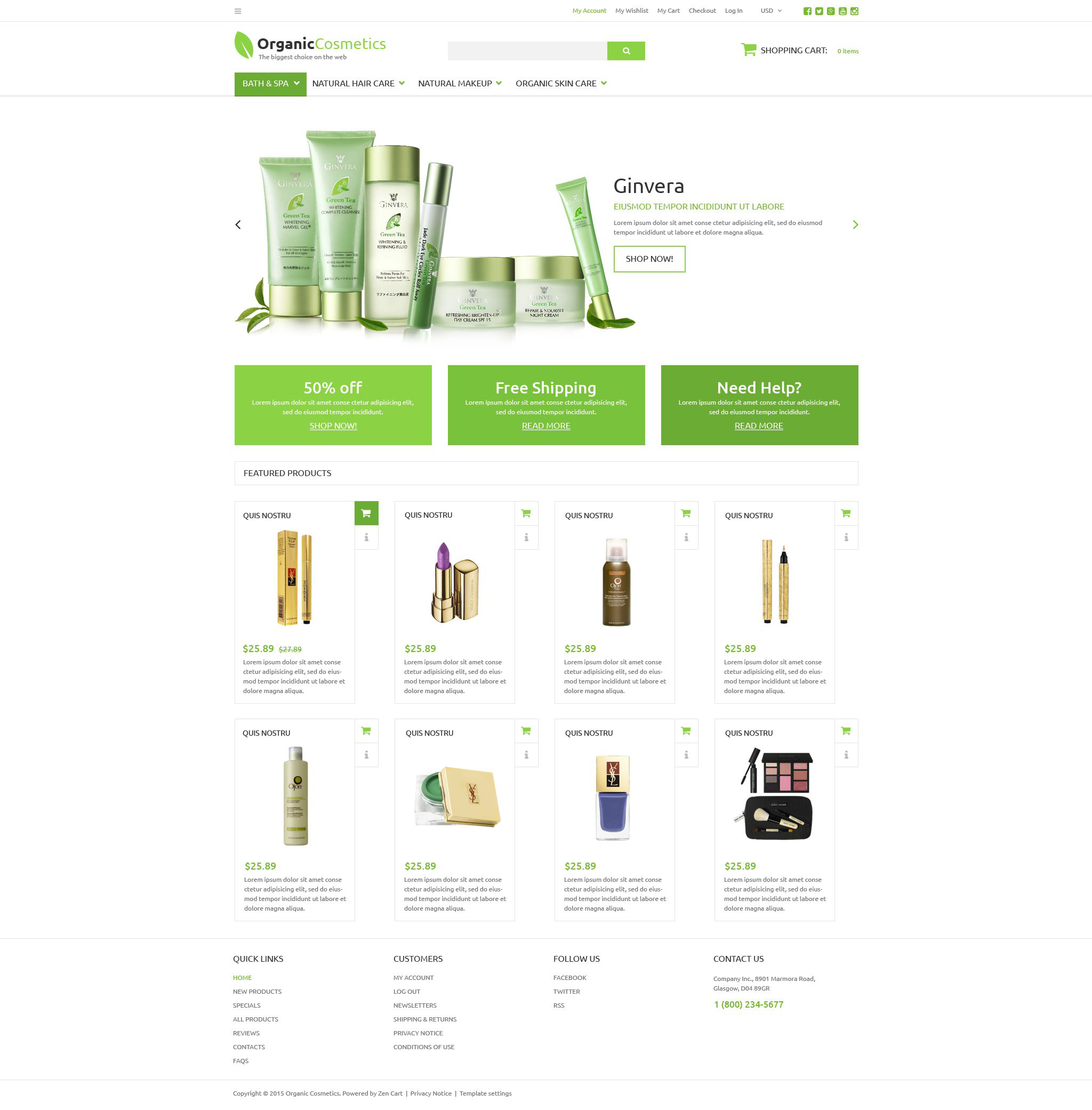 """Organic Products Store"" - адаптивний ZenCart шаблон №53643"