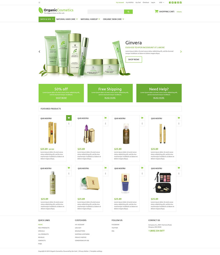 Organic Products Store ZenCart Template New Screenshots BIG