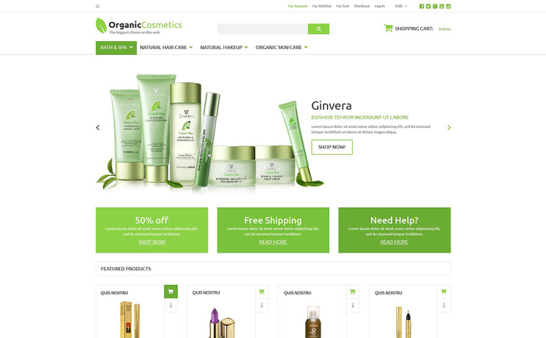Organic Products Store ZenCart Template