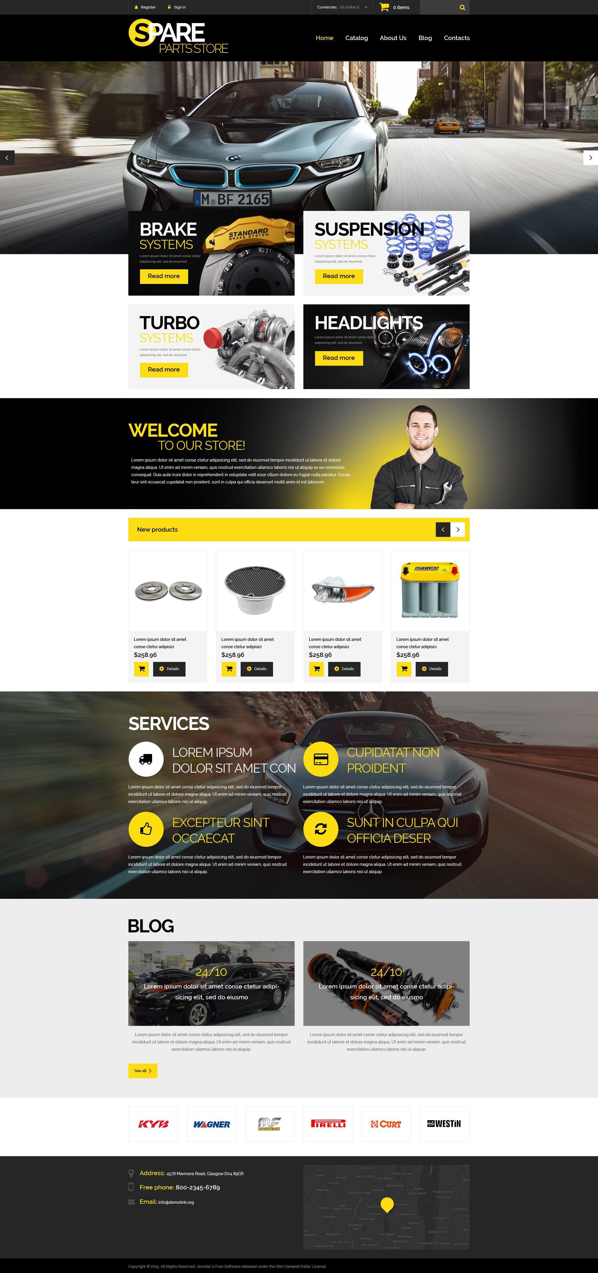 Plantilla VirtueMart #53698 para Sitio de Repuestos de coches