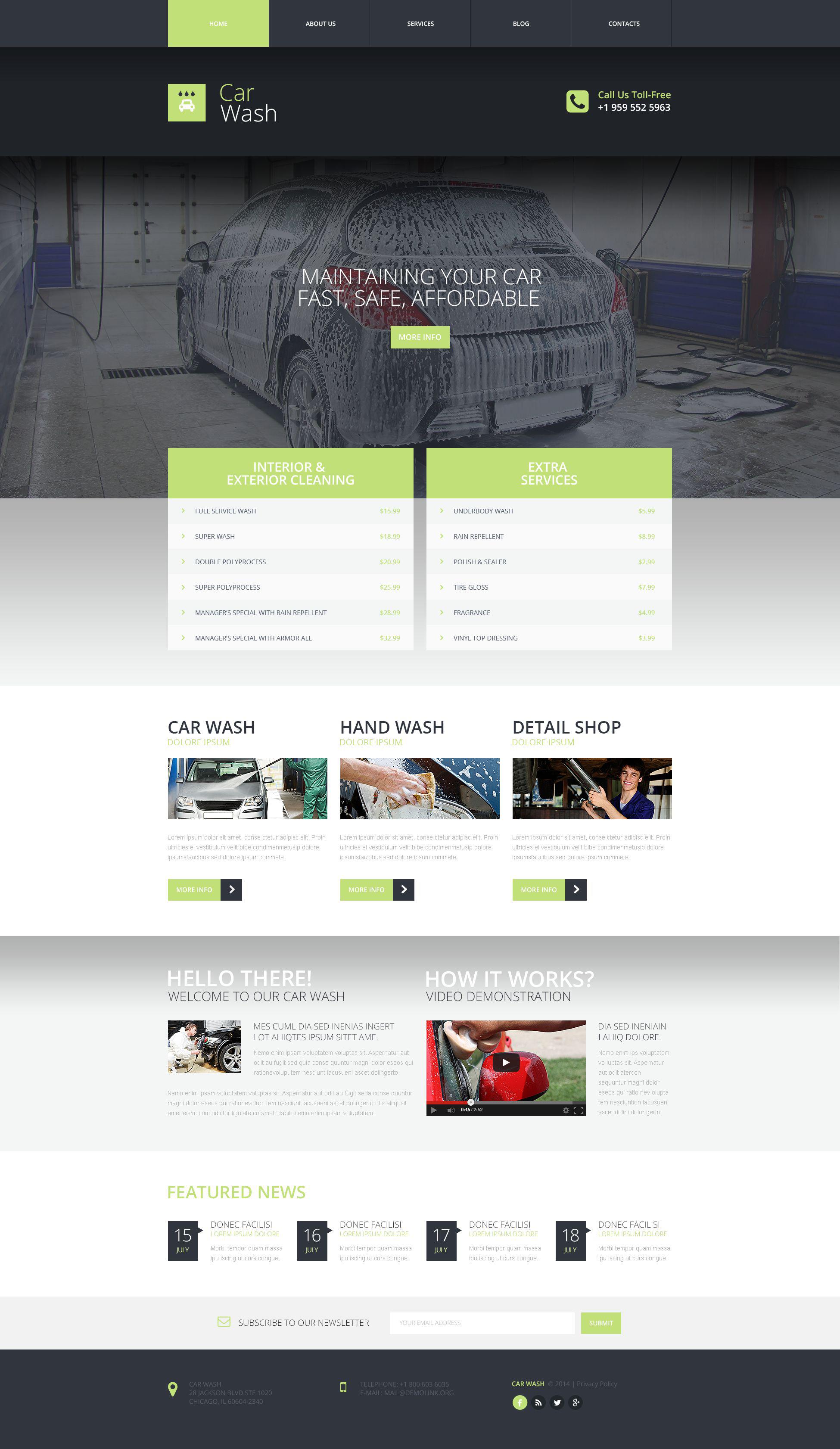 Plantilla Web Responsive para Sitio de Lavado de autos #53652
