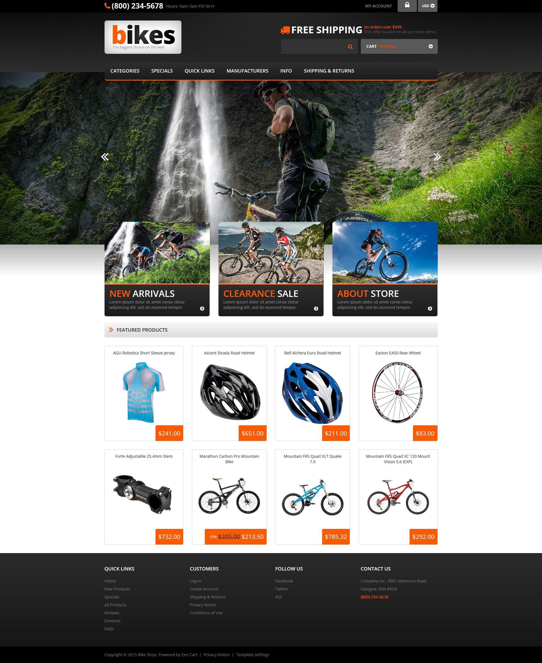 Plantilla ZenCart Responsive para Sitio de Ciclismo #53687