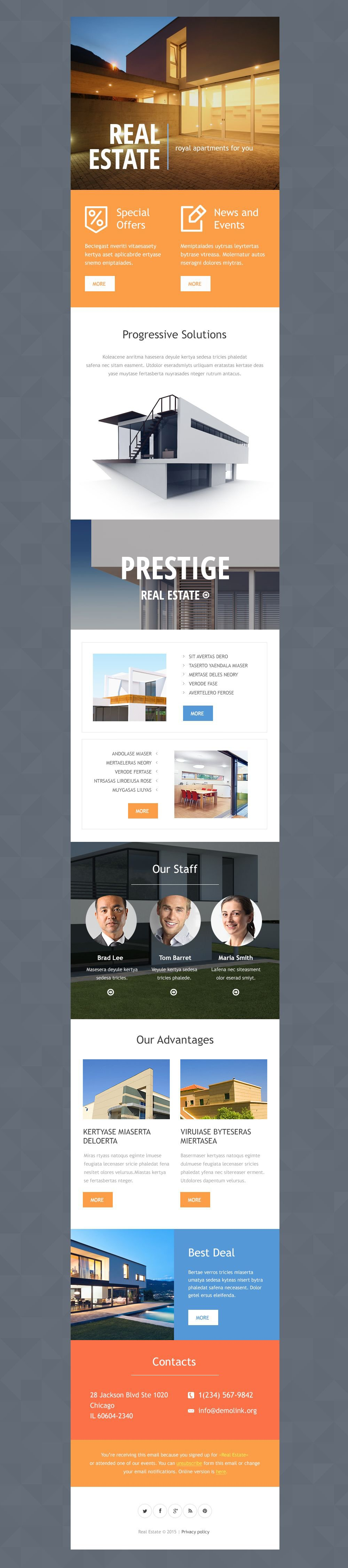 Real Estate Agency Responsive Newsletter Template 53671 – Real Estate Newsletter Template