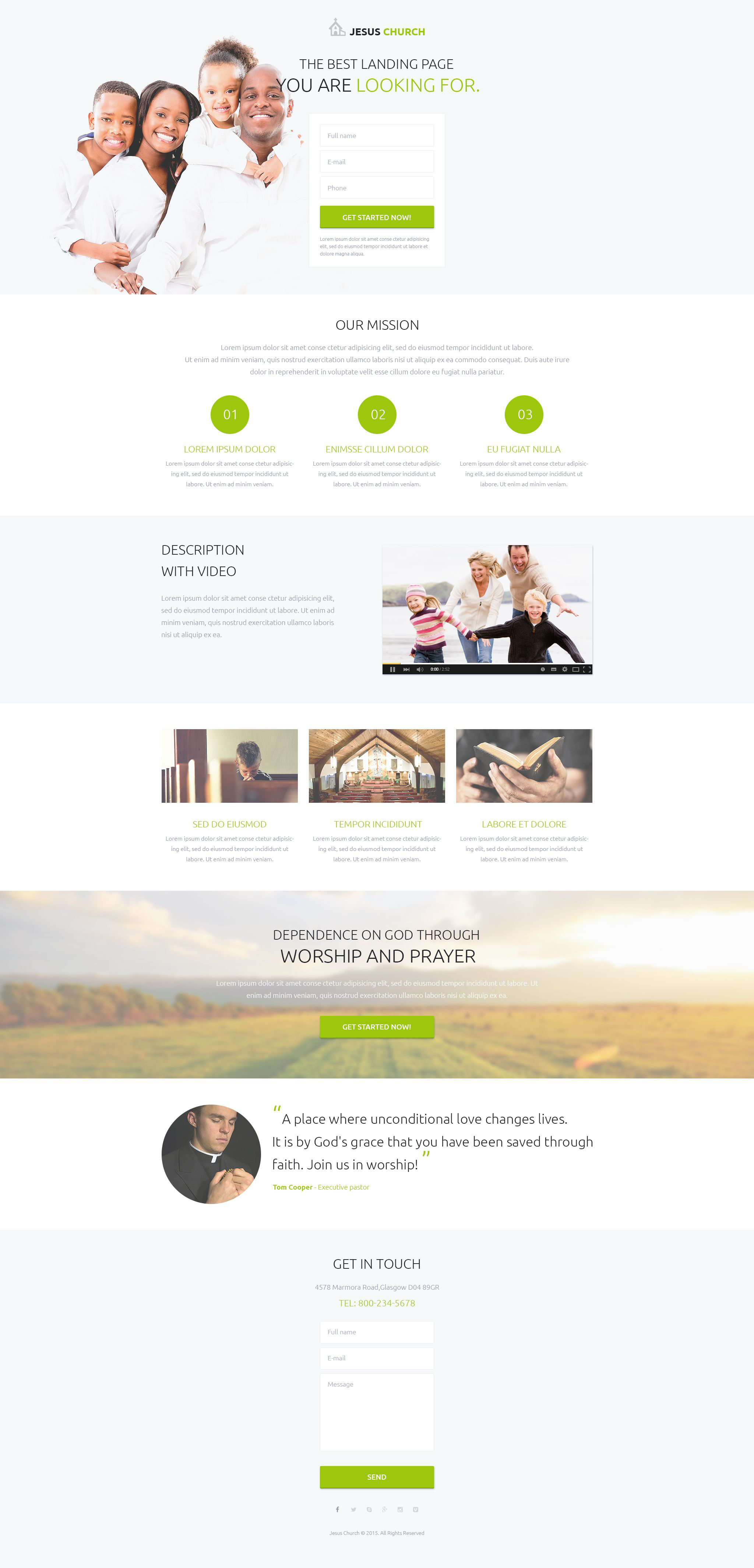 Religious Responsive Landing Page Template