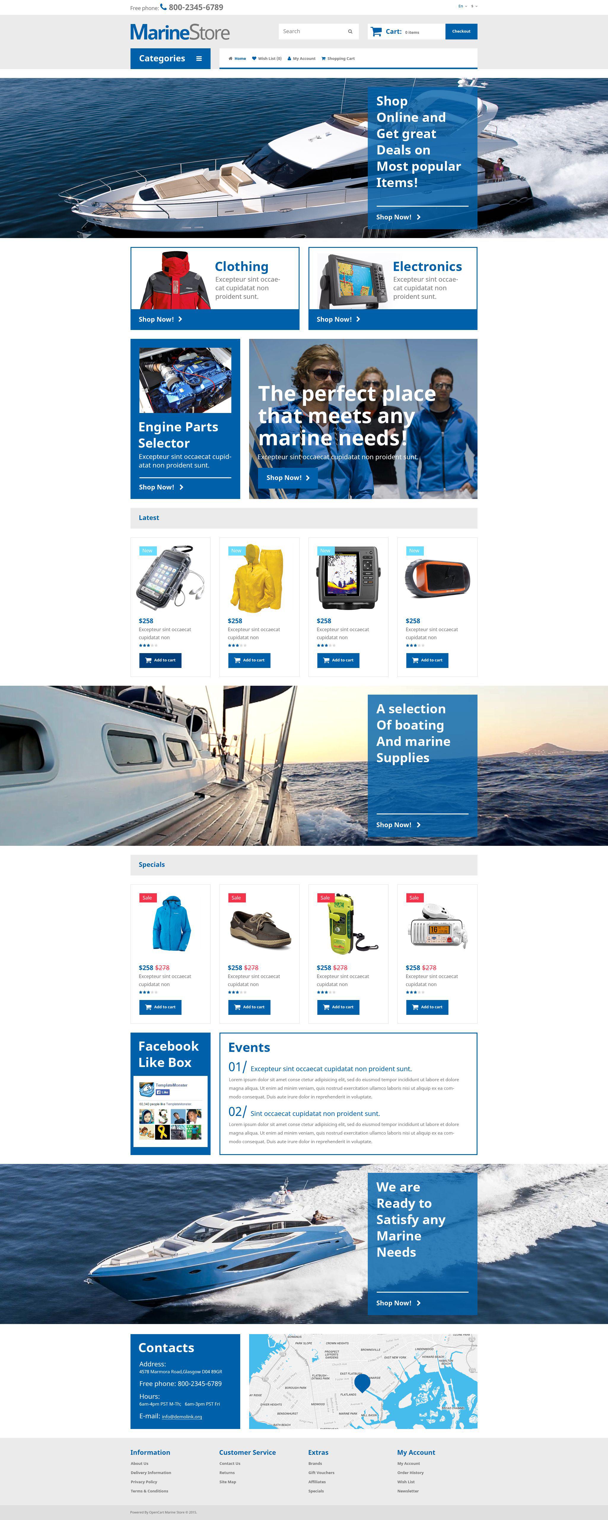 "Responzivní OpenCart šablona ""Marine Store"" #53685"