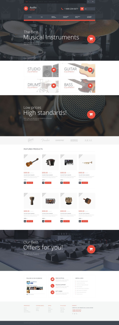 Audio Store Responsive OpenCart šablona
