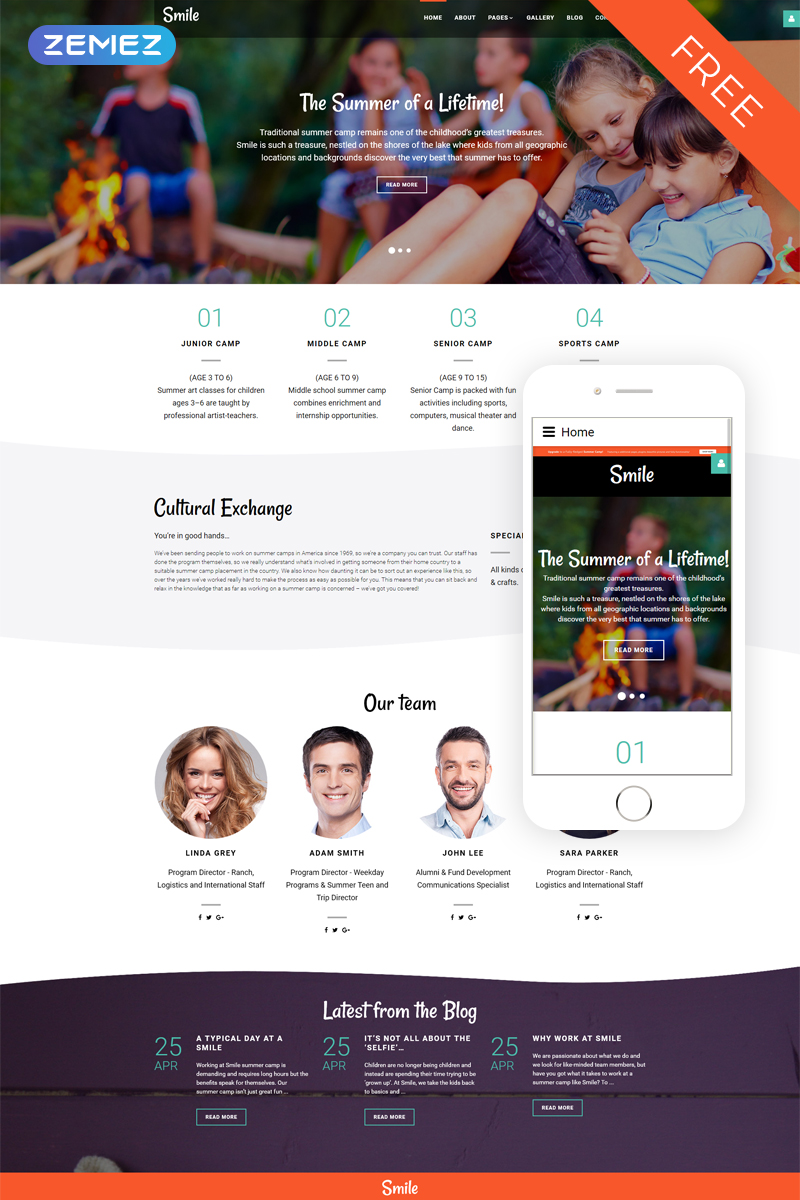 Smile - Summer Camp Free Joomla Template