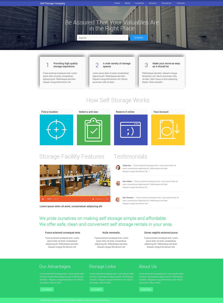 Storage Facilities Website Template New Screenshots BIG
