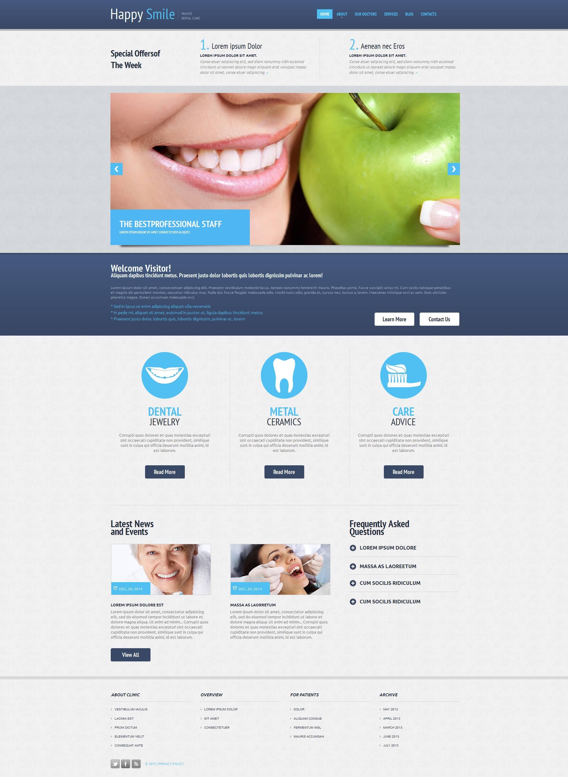 Szablon Moto CMS HTML #53608 na temat: stomatologia - zrzut ekranu