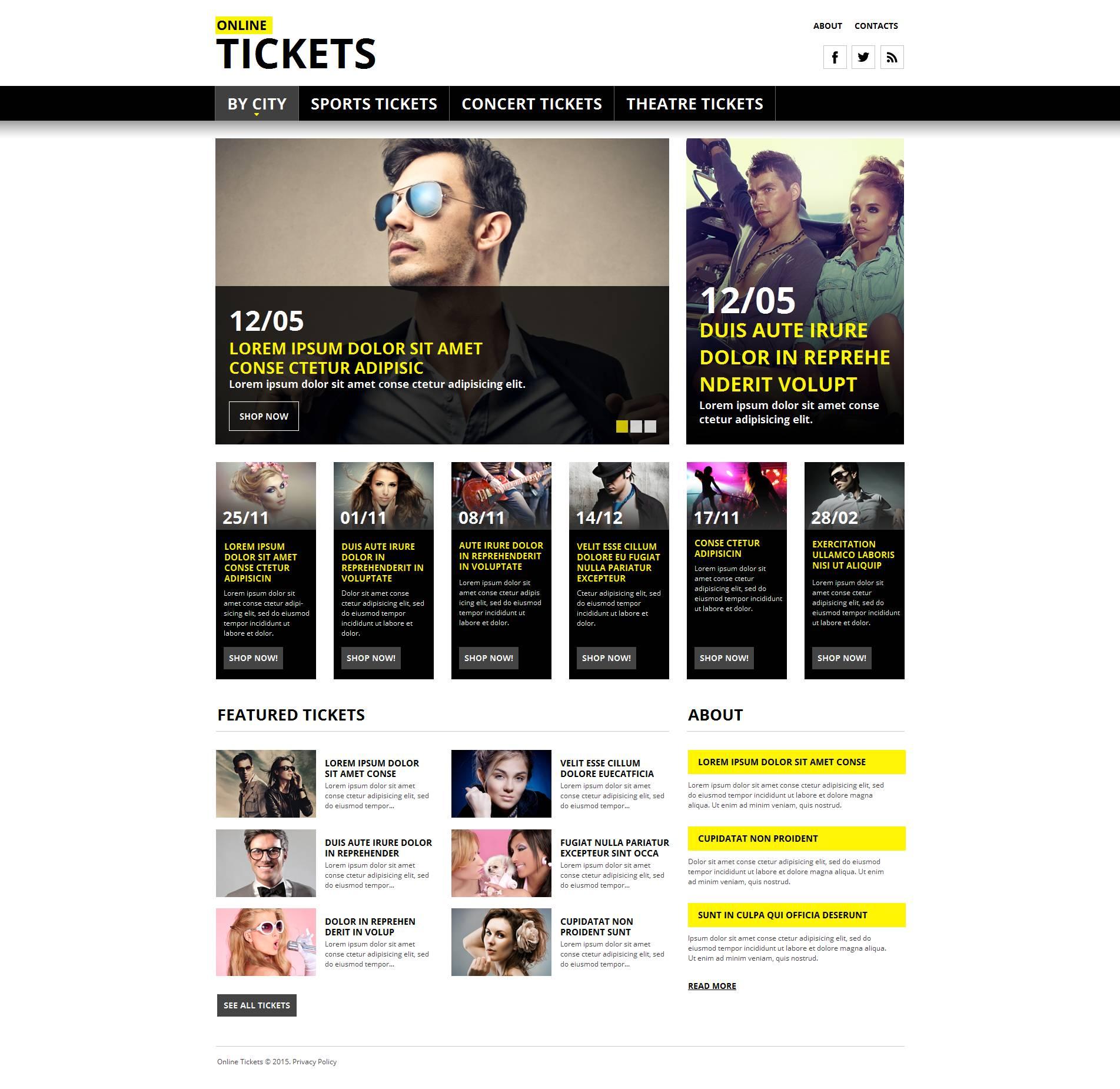 Szablon Moto CMS HTML #53634 na temat: strona z biletami