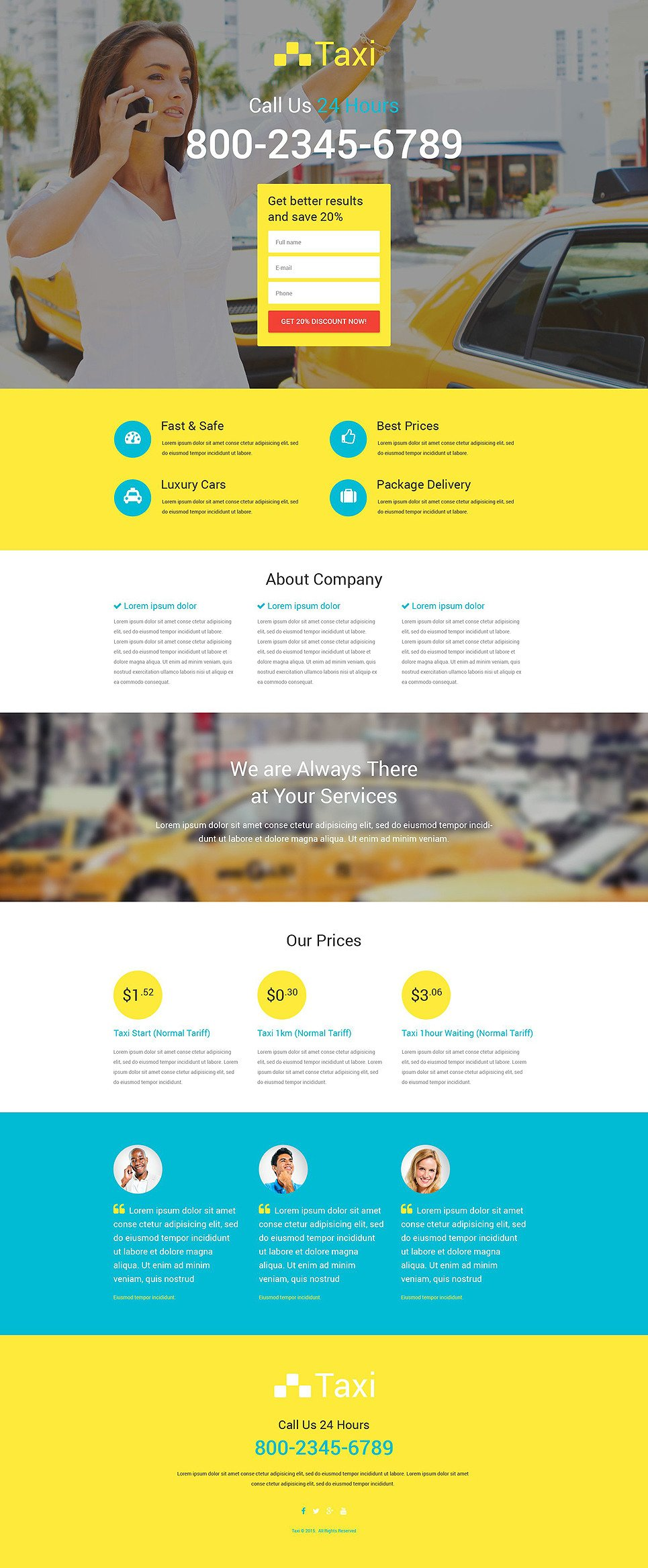 Taxi Responsive Landing Page Template New Screenshots BIG