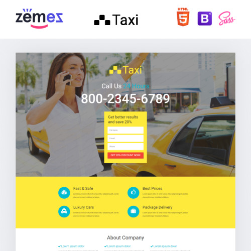 Taxi - Responsive Landing Page Template