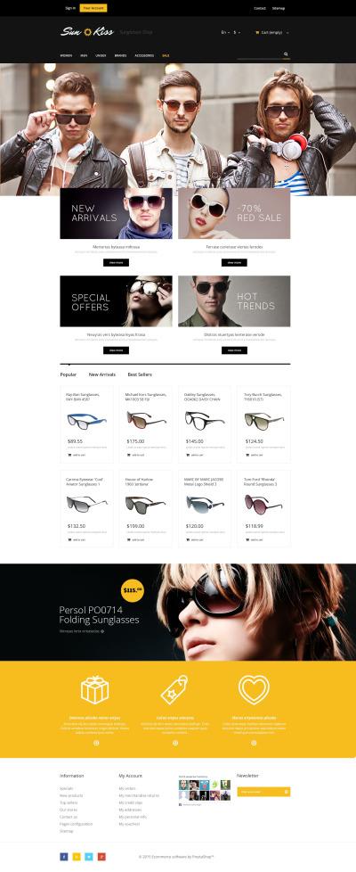 Responsive Tema De PrestaShop #53663 para Sitio de  para Sitio de Gafas