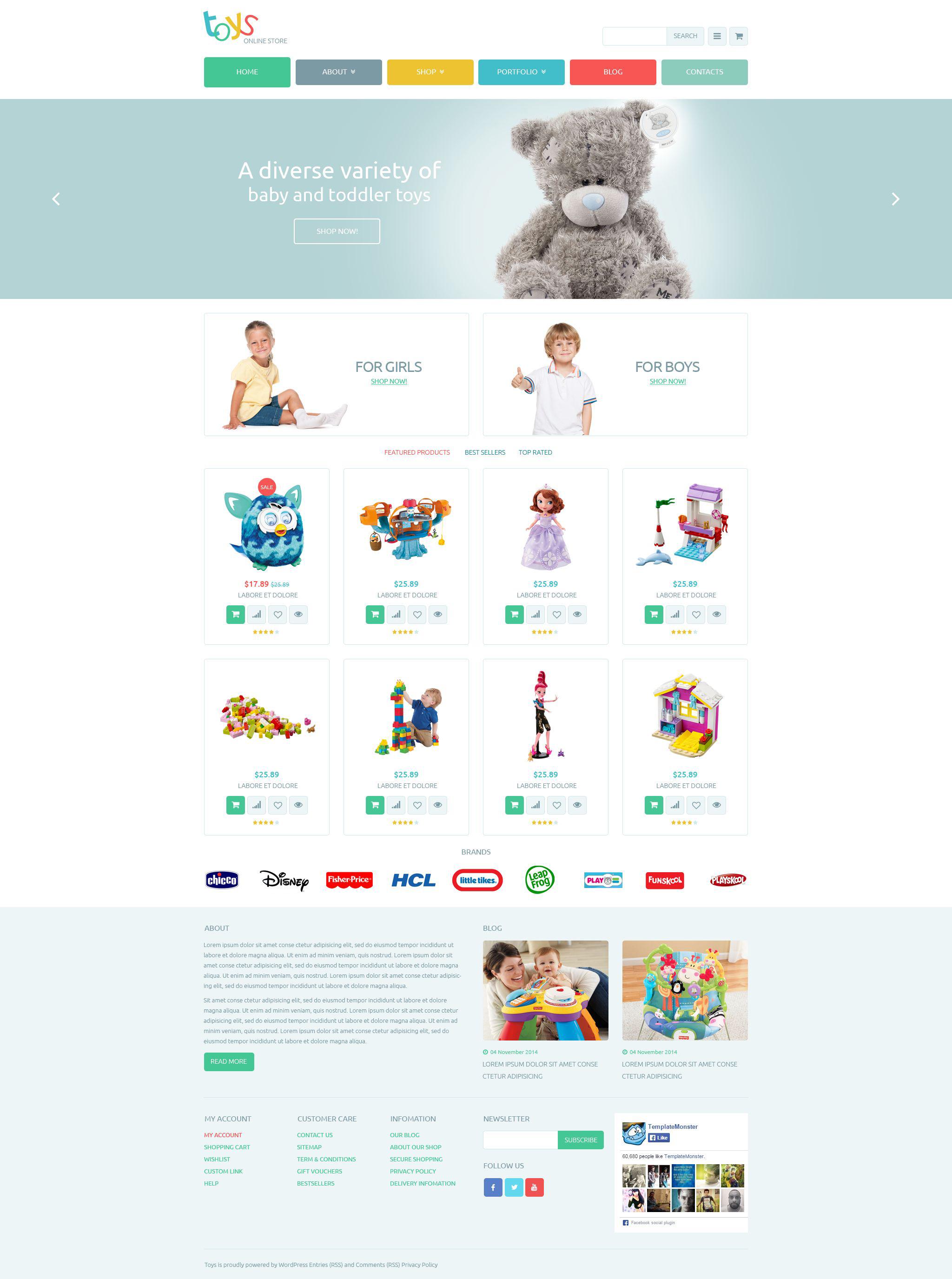 """Tema WooCommerce """"Safe Toys"""" #53658"""
