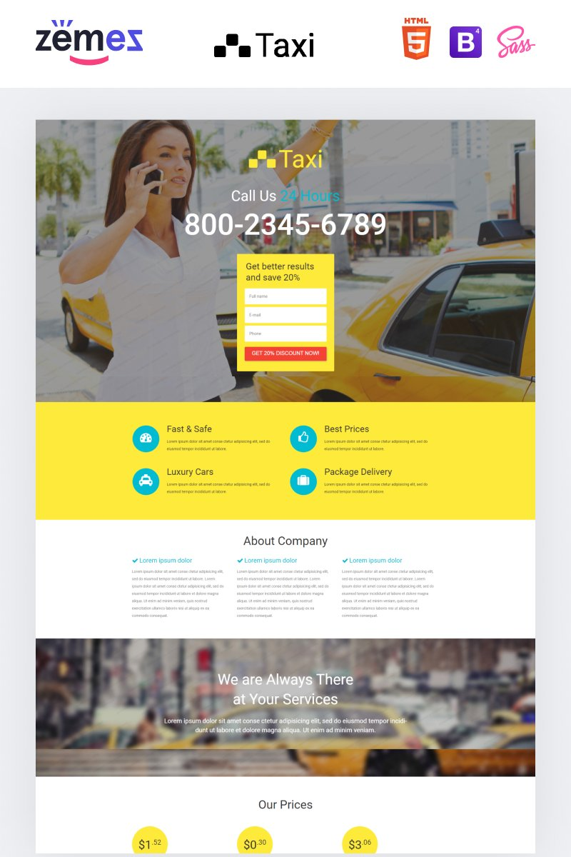 Templates de Landing Page Flexível para Sites de Taxi №53688