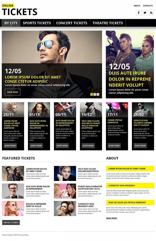 Tickets Website Moto CMS HTML Template New Screenshots BIG