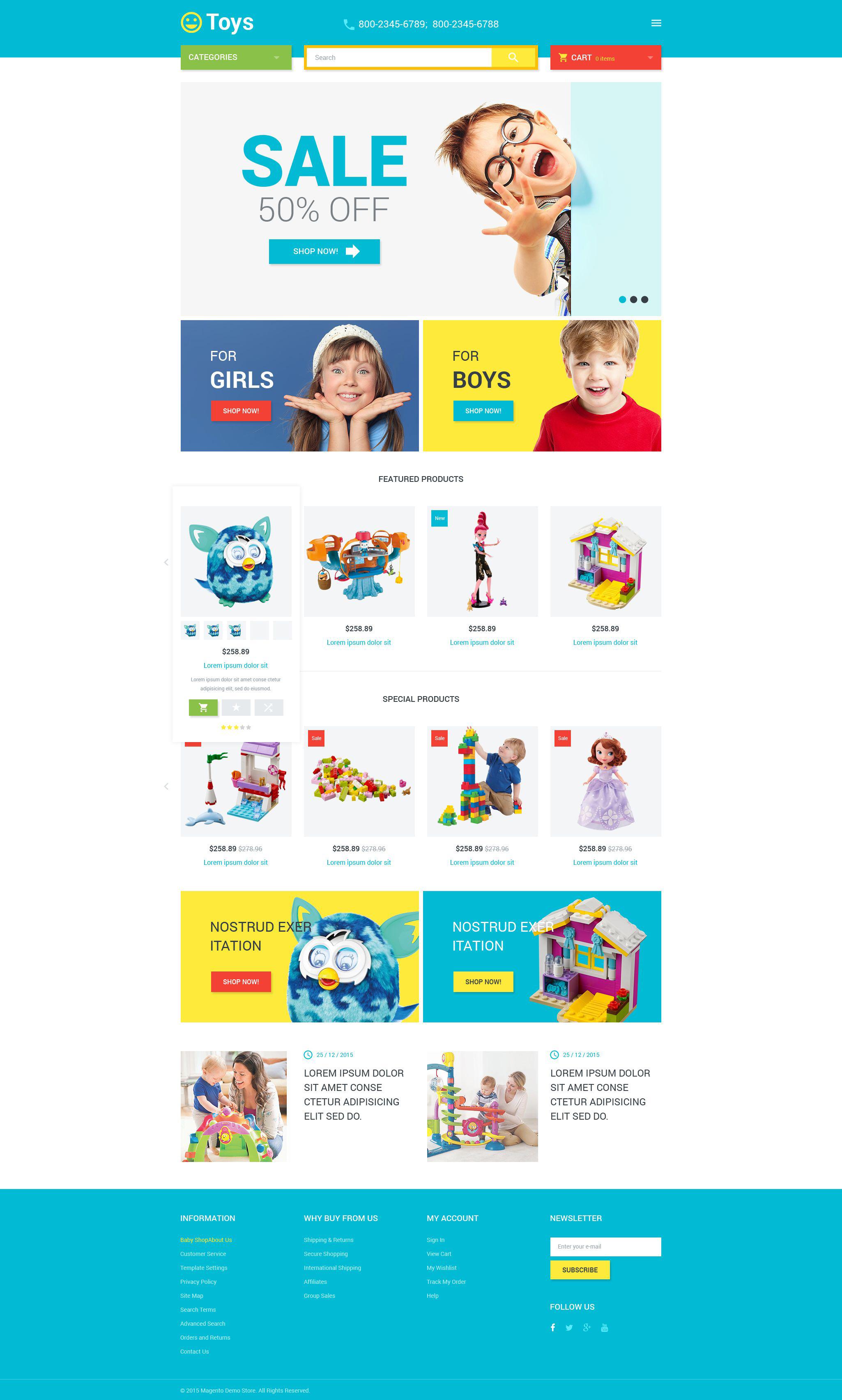 """Toys Store"" - адаптивний Magento шаблон №53681 - скріншот"