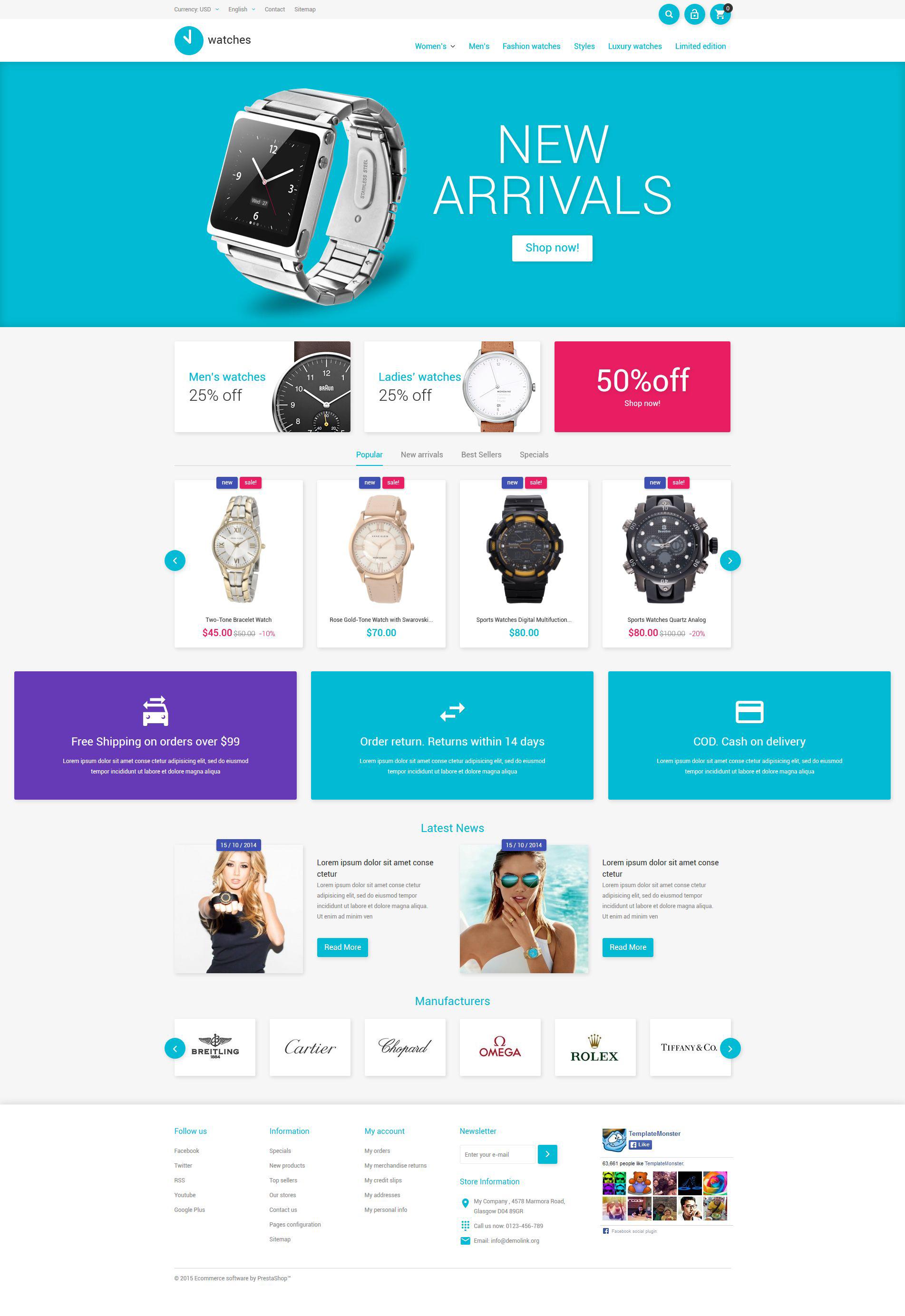 """""""Watches Store"""" 响应式PrestaShop模板 #53668 - 截图"""