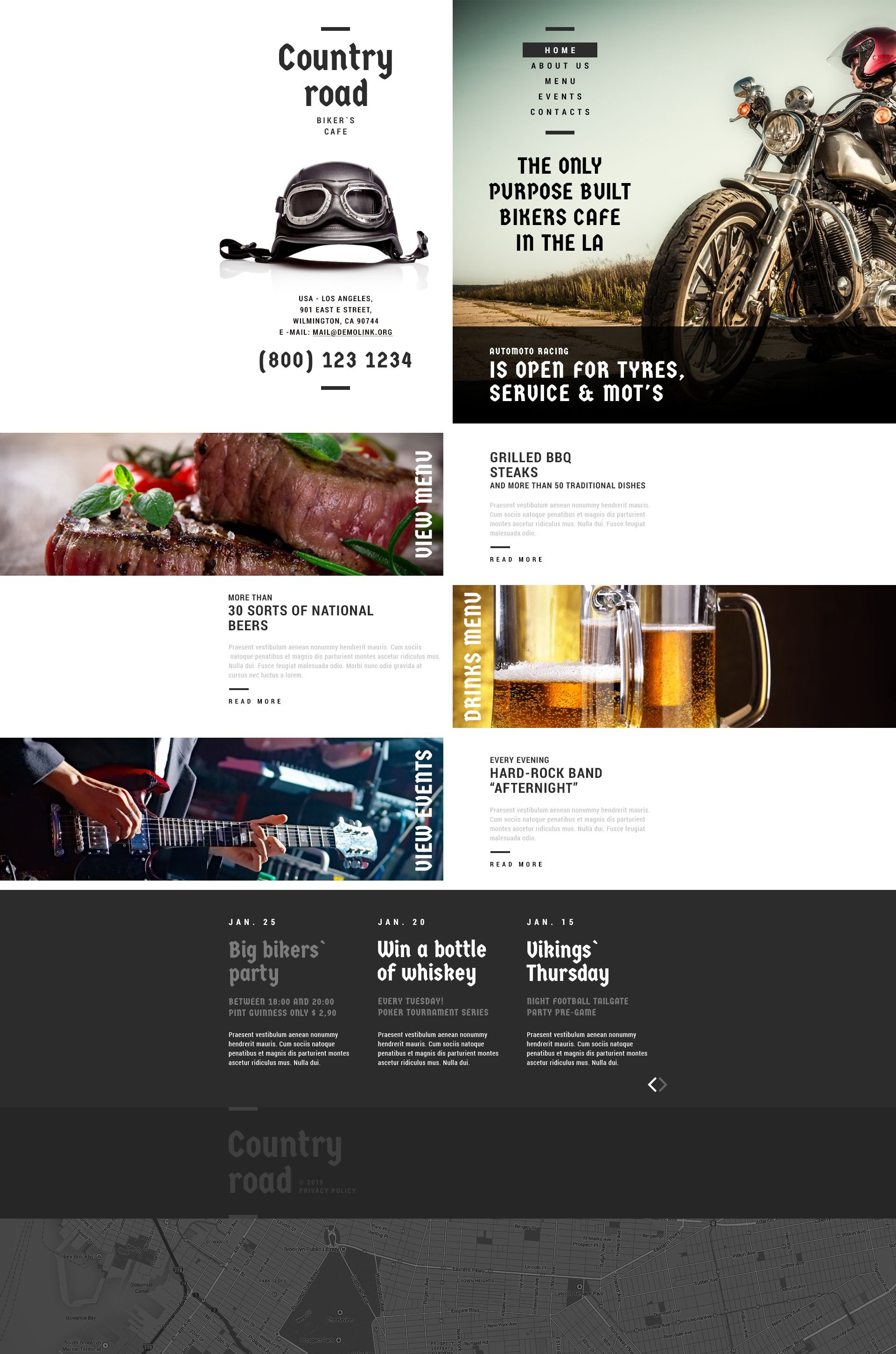 The Country Road Responsive Javascript Animated Design 53704, one of the best website templates of its kind (cafe and restaurant, most popular), also known as country road website template, biker website template, cafe restaurant website template, meat website template, beef website template, pork website template, chicken website template, roast website template, barbecue website template, grill website template, meal website template, snack website template, food website template, brisket website template, shoulder website template, steak and related with country road, biker, cafe restaurant, meat, beef, pork, chicken, roast, barbecue, grill, meal, snack, food, brisket, shoulder, steak, etc.