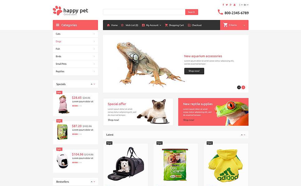 Tema OpenCart Responsive #53712 per Un Sito di Negozio di Animali New Screenshots BIG