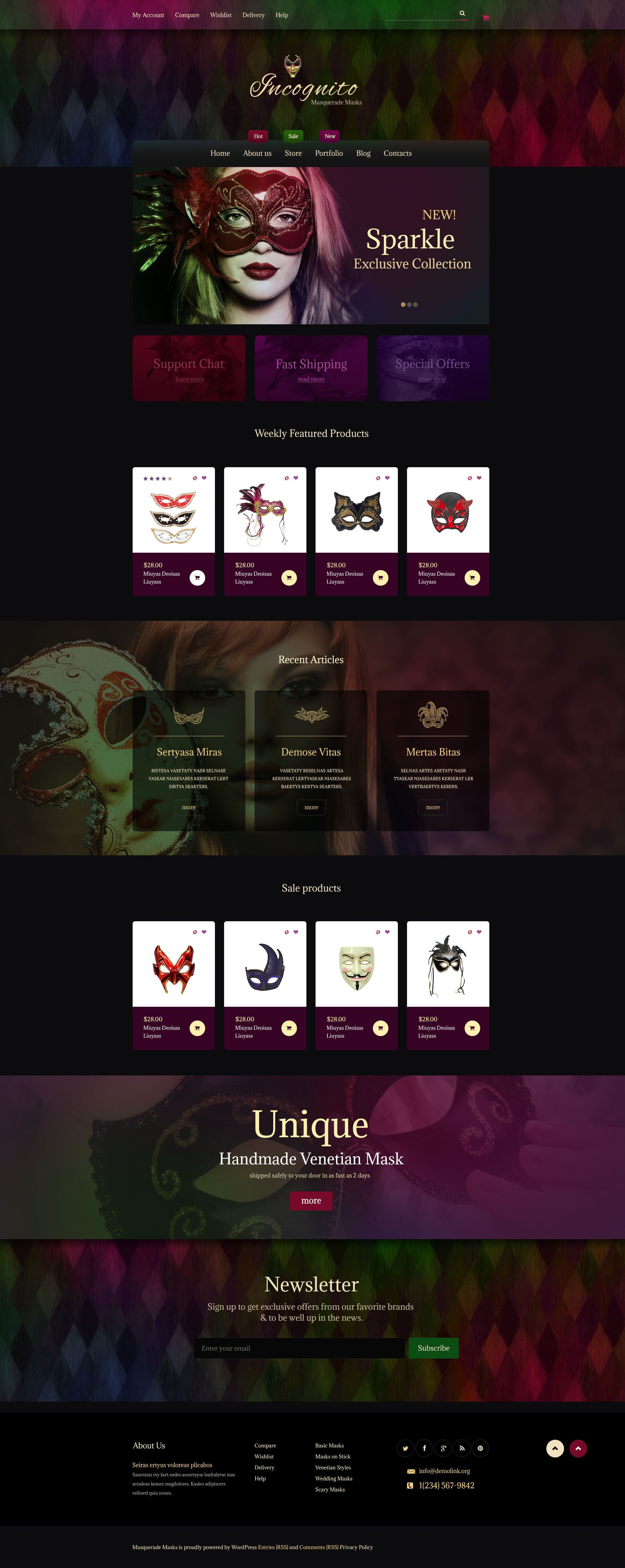The Masks Masquerade Store WooCommerce Design 53767, one of the best WooCommerce themes of its kind (most popular, online casino), also known as Masks masquerade store WooCommerce template, shopping cart WooCommerce template, services WooCommerce template, prices WooCommerce template, holidays WooCommerce template, mask WooCommerce template, wigs WooCommerce template, hair WooCommerce template, footwear WooCommerce template, costumes and related with Masks masquerade store, shopping cart, services, prices, holidays, mask, wigs, hair, footwear, costumes, etc.