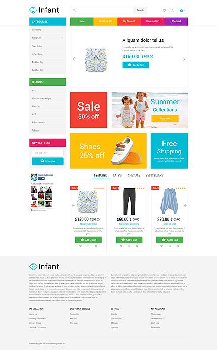 Infant clothing store opencart template website templates maxwellsz