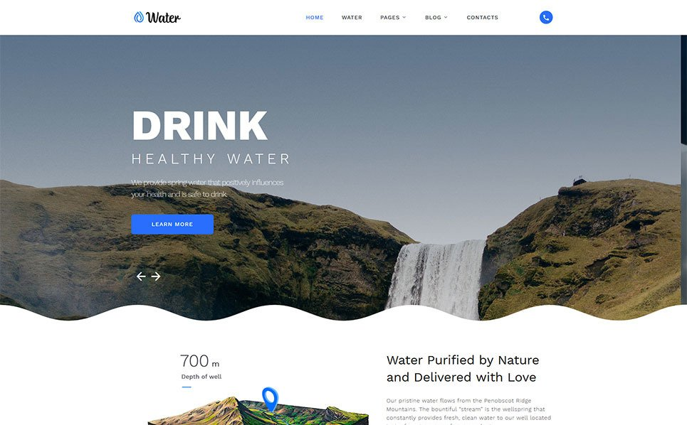 Responsive Website template over Water  New Screenshots BIG