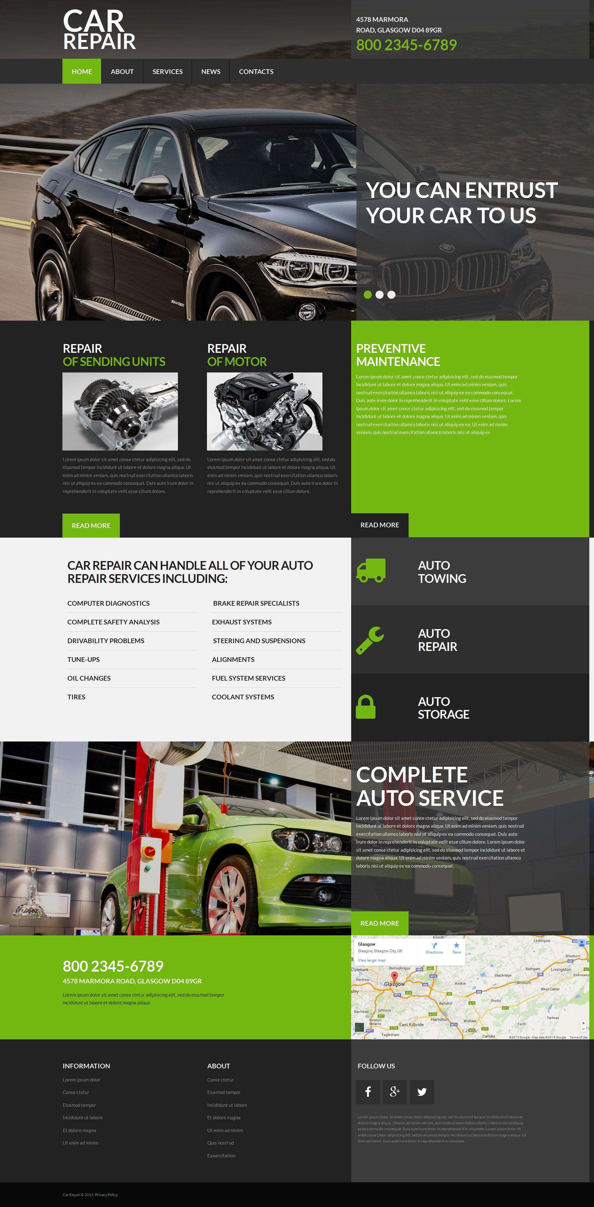 Адаптивный MotoCMS 3 шаблон №53724 на тему ремонт авто