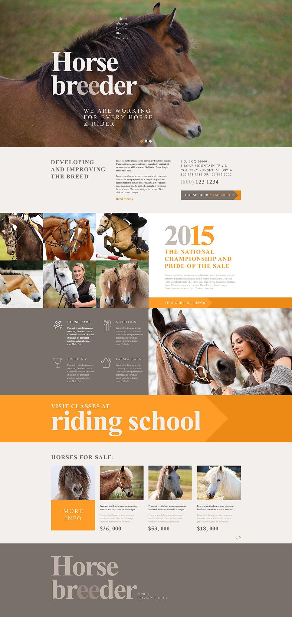 Адаптивный шаблон сайта на тему лошади #53762