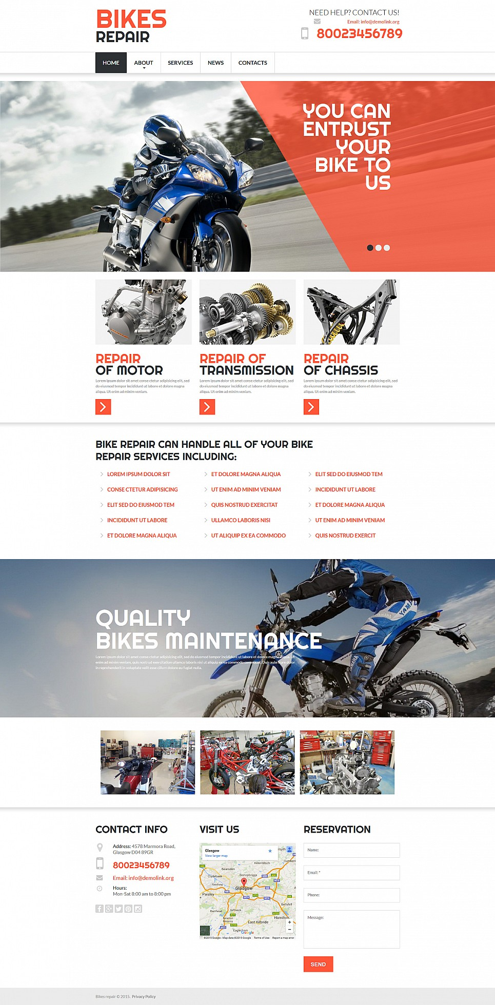 bike shop website builder