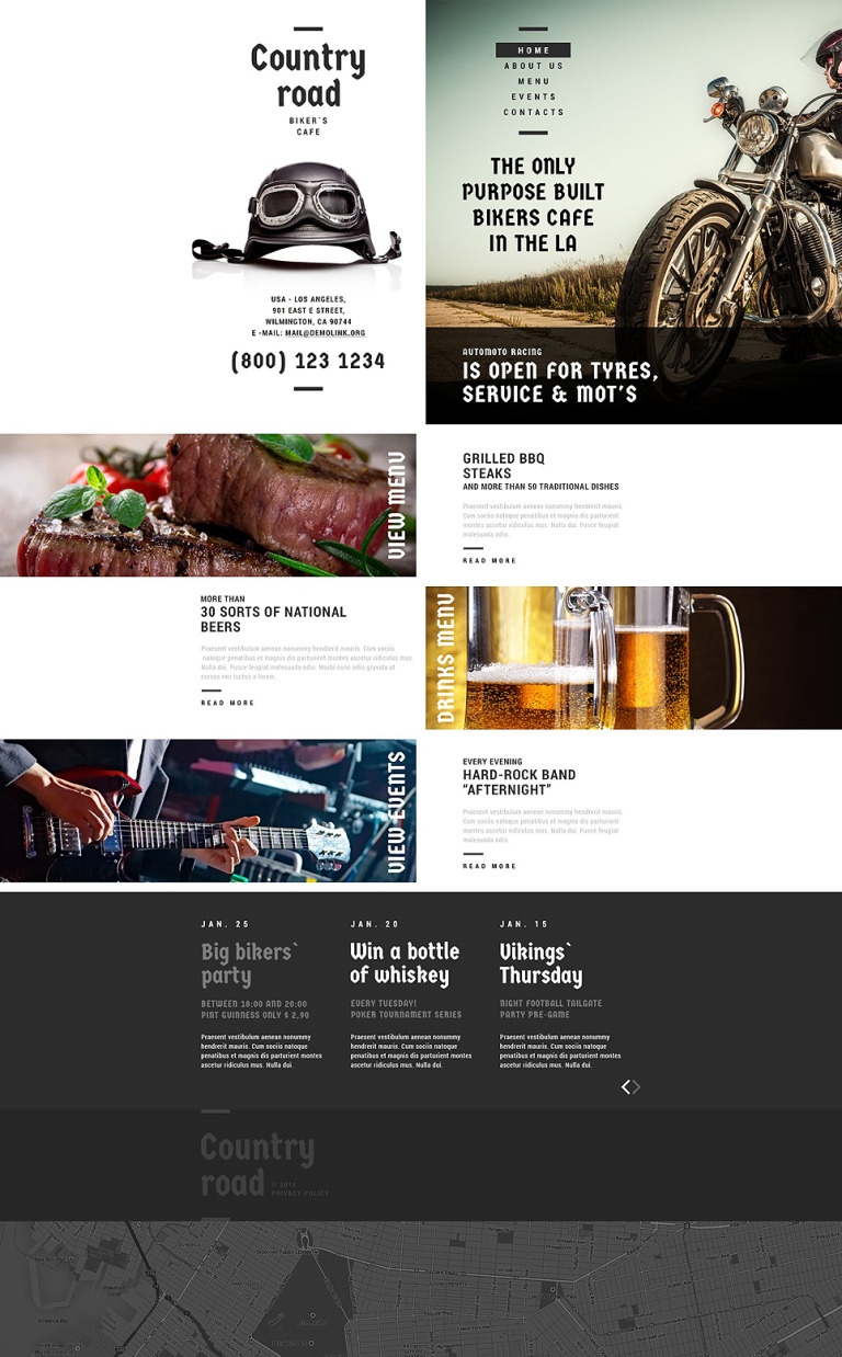 Biker's cafe Website Template New Screenshots BIG