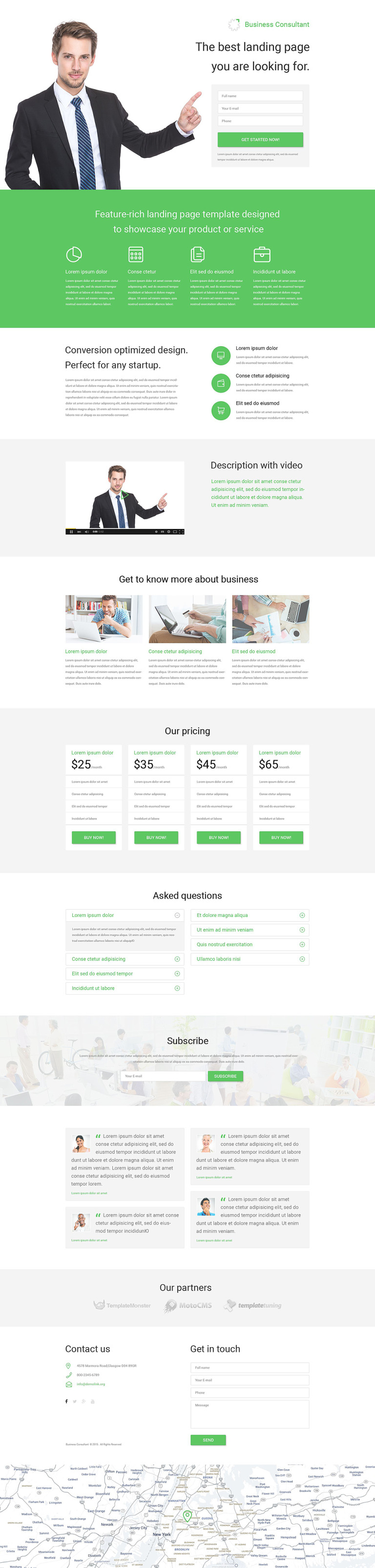 Business Responsive Landing Page Template #53788