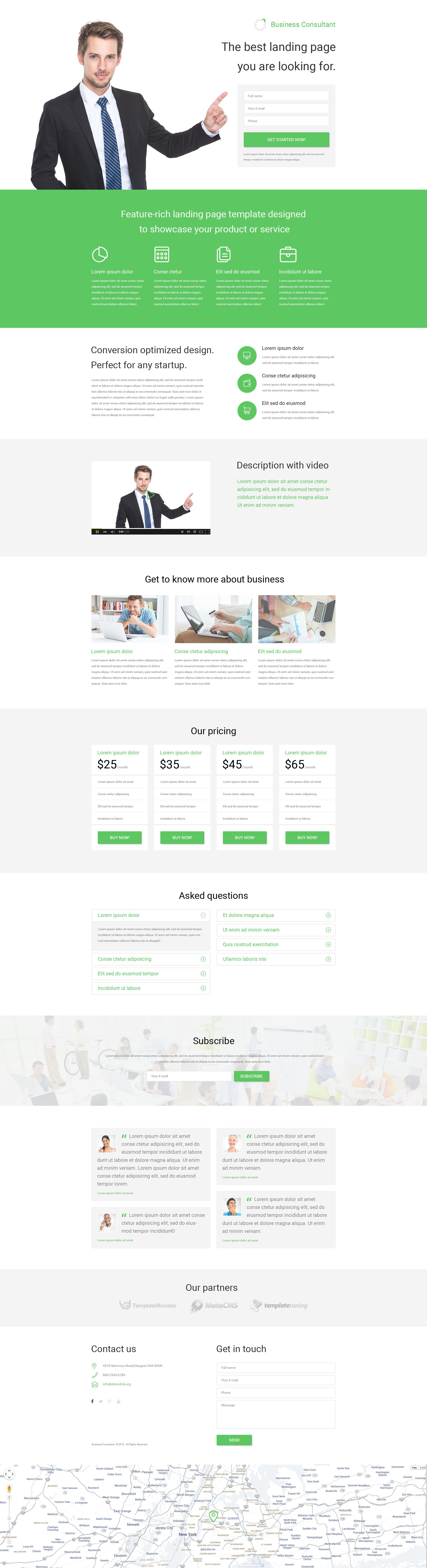 business responsive landing page template 53788. Black Bedroom Furniture Sets. Home Design Ideas