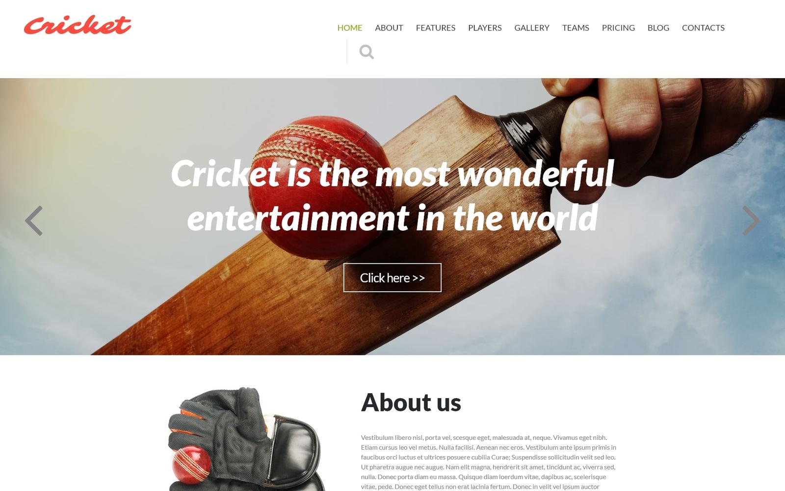 Cricket Club Joomla-sjabloon