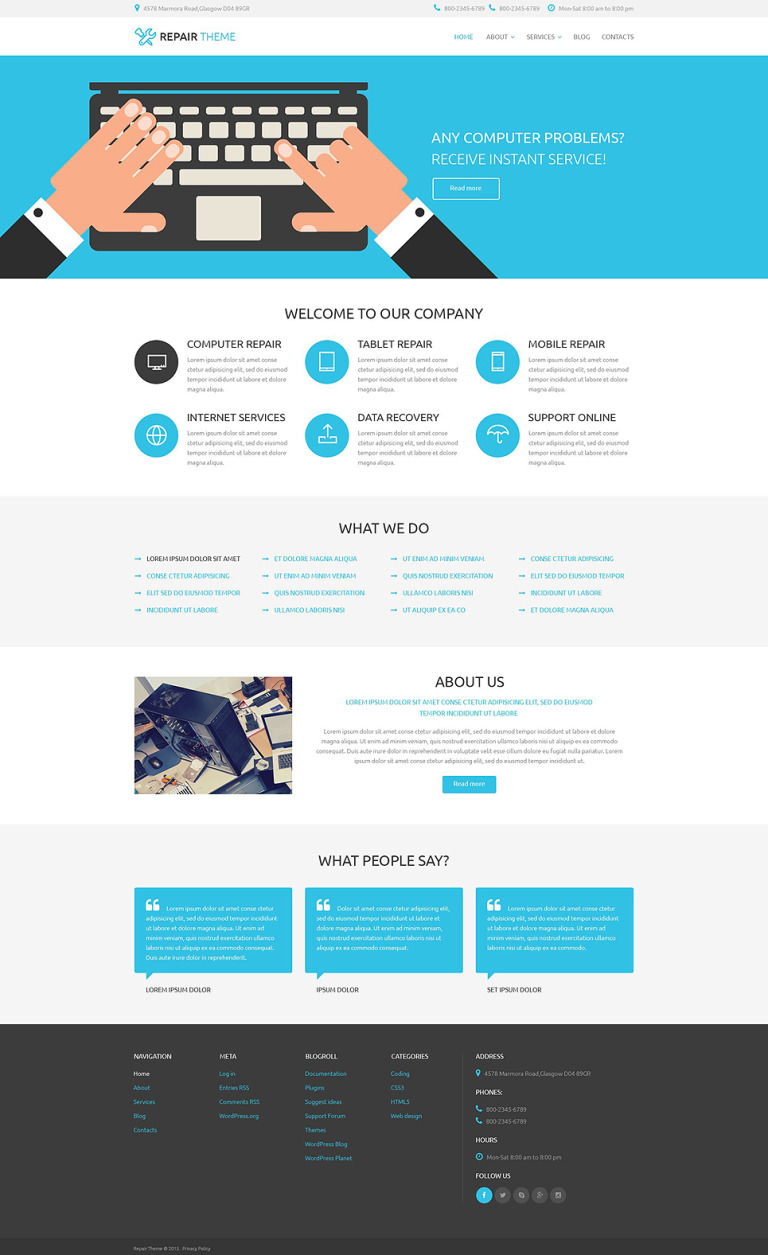 Electronics Fixing Services WordPress Theme New Screenshots BIG