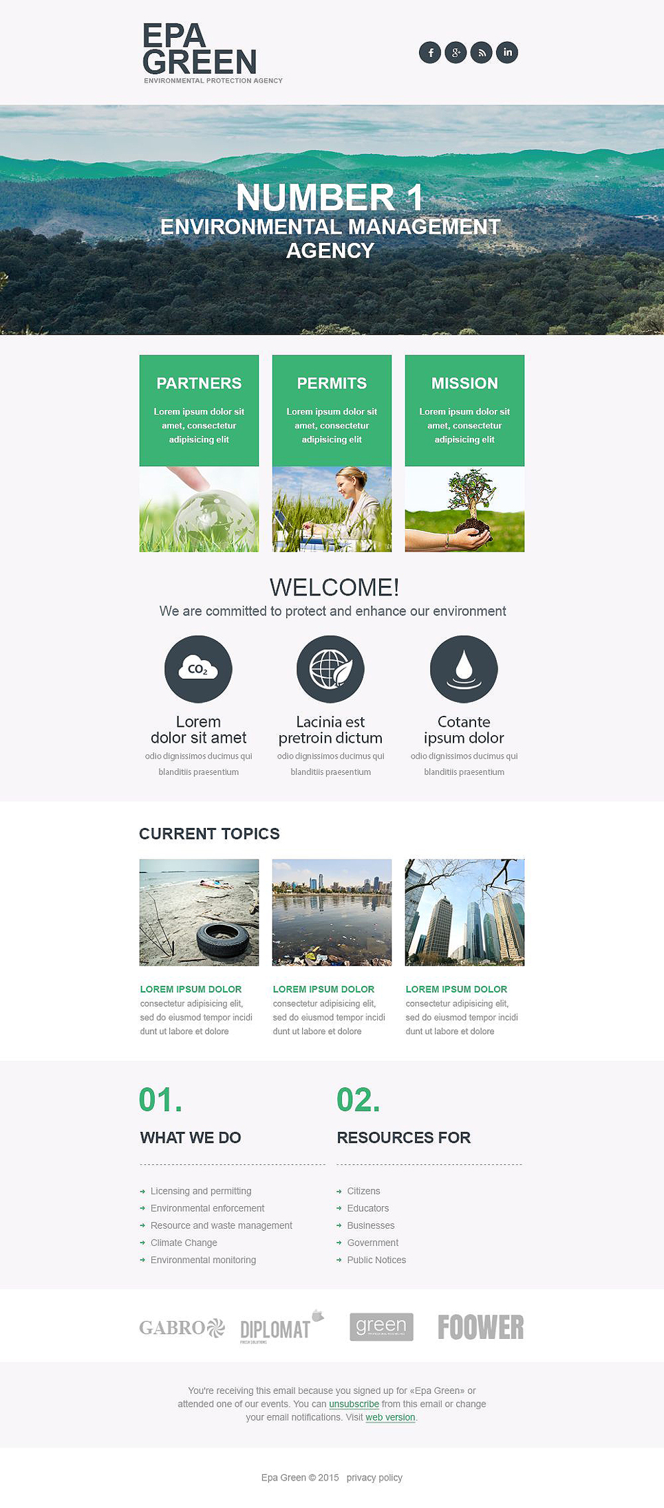 Environmental Responsive Newsletter Template  53702