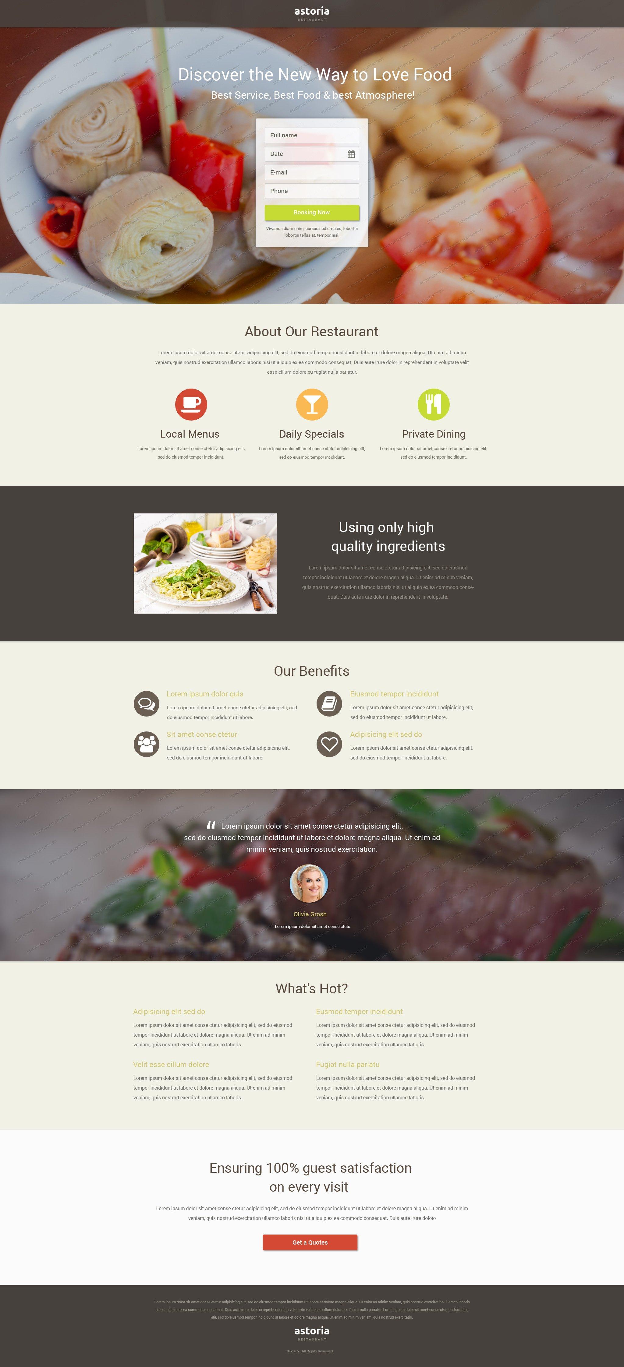 """Free Restaurant Landing Page Template"" 响应式着陆页模板 #53722 - 截图"