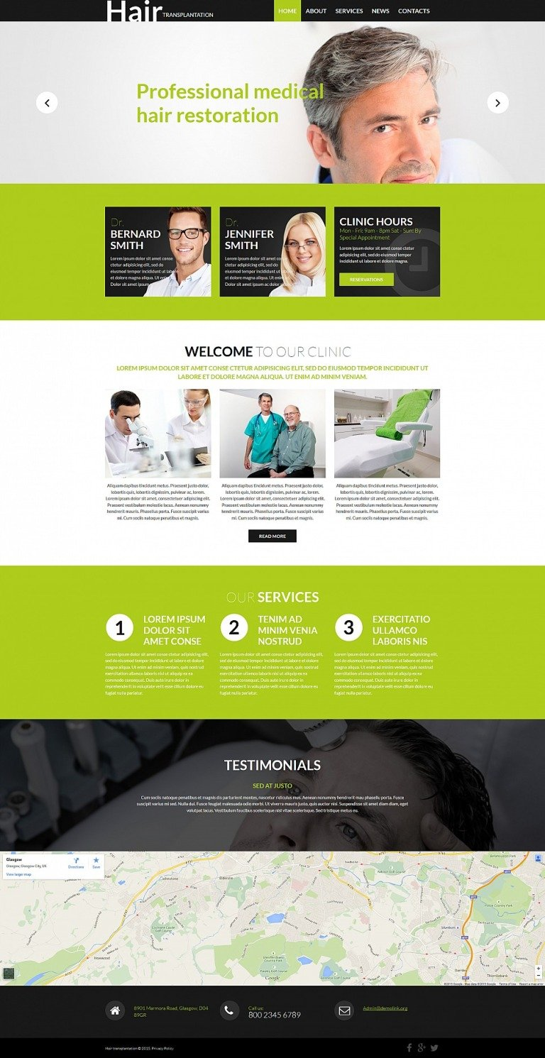 Hair Clinic Responsive Moto CMS 3 Template New Screenshots BIG