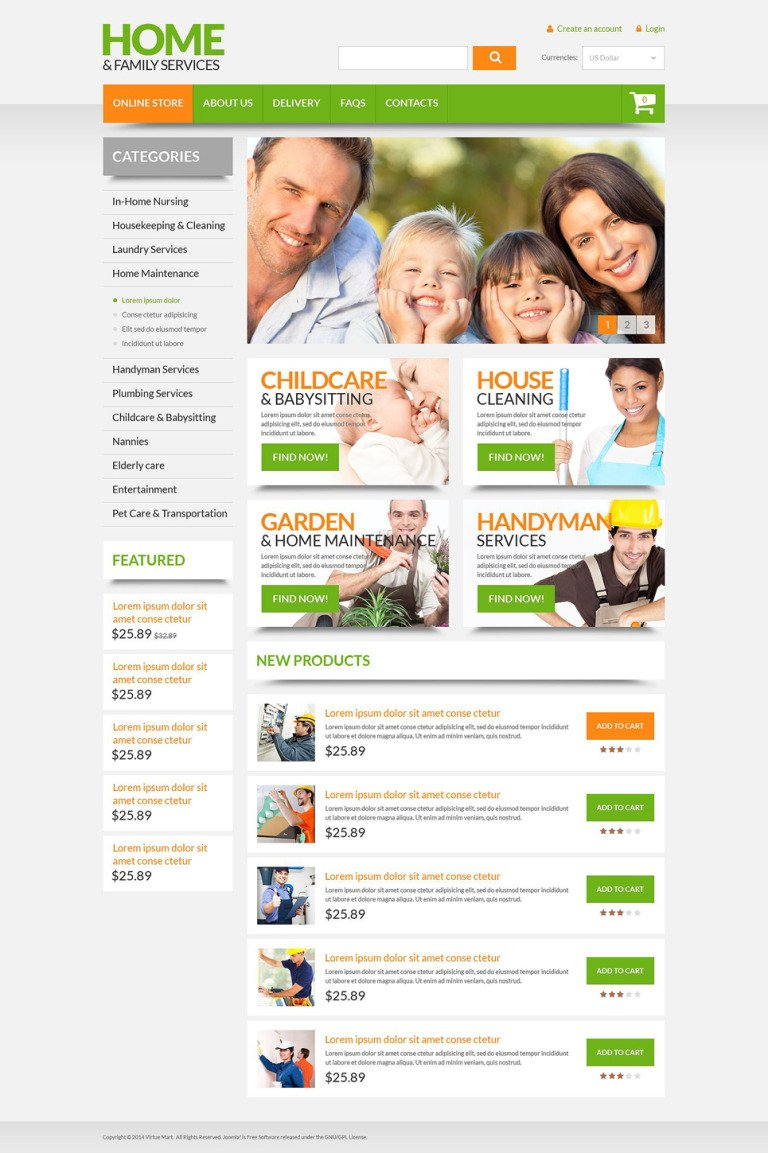 Home Family Services VirtueMart Template New Screenshots BIG