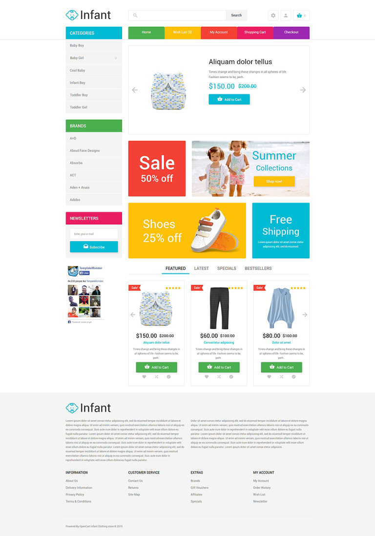 Infant Clothing Store OpenCart Template New Screenshots BIG