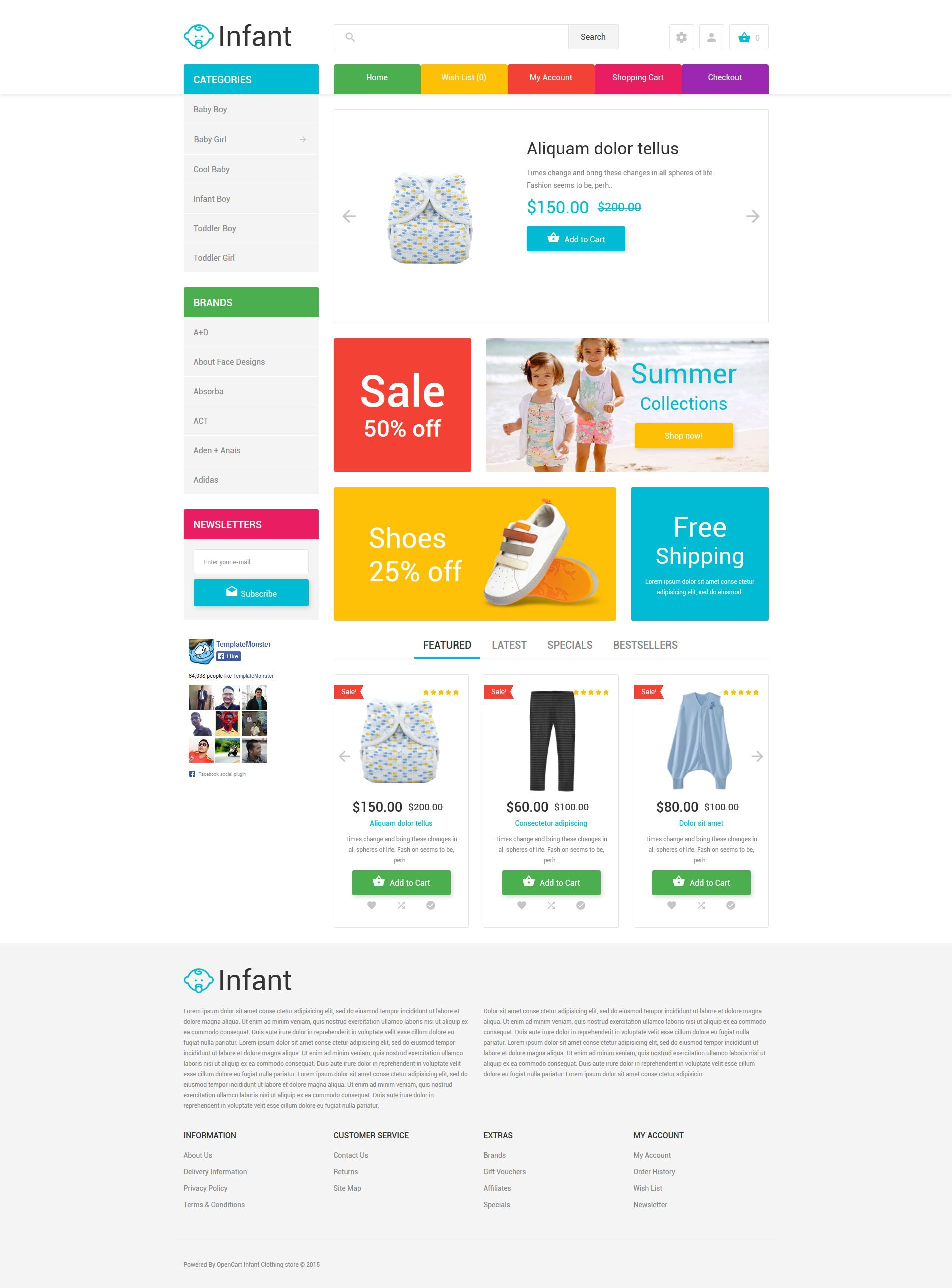 Infant Clothing Store OpenCart Template - screenshot