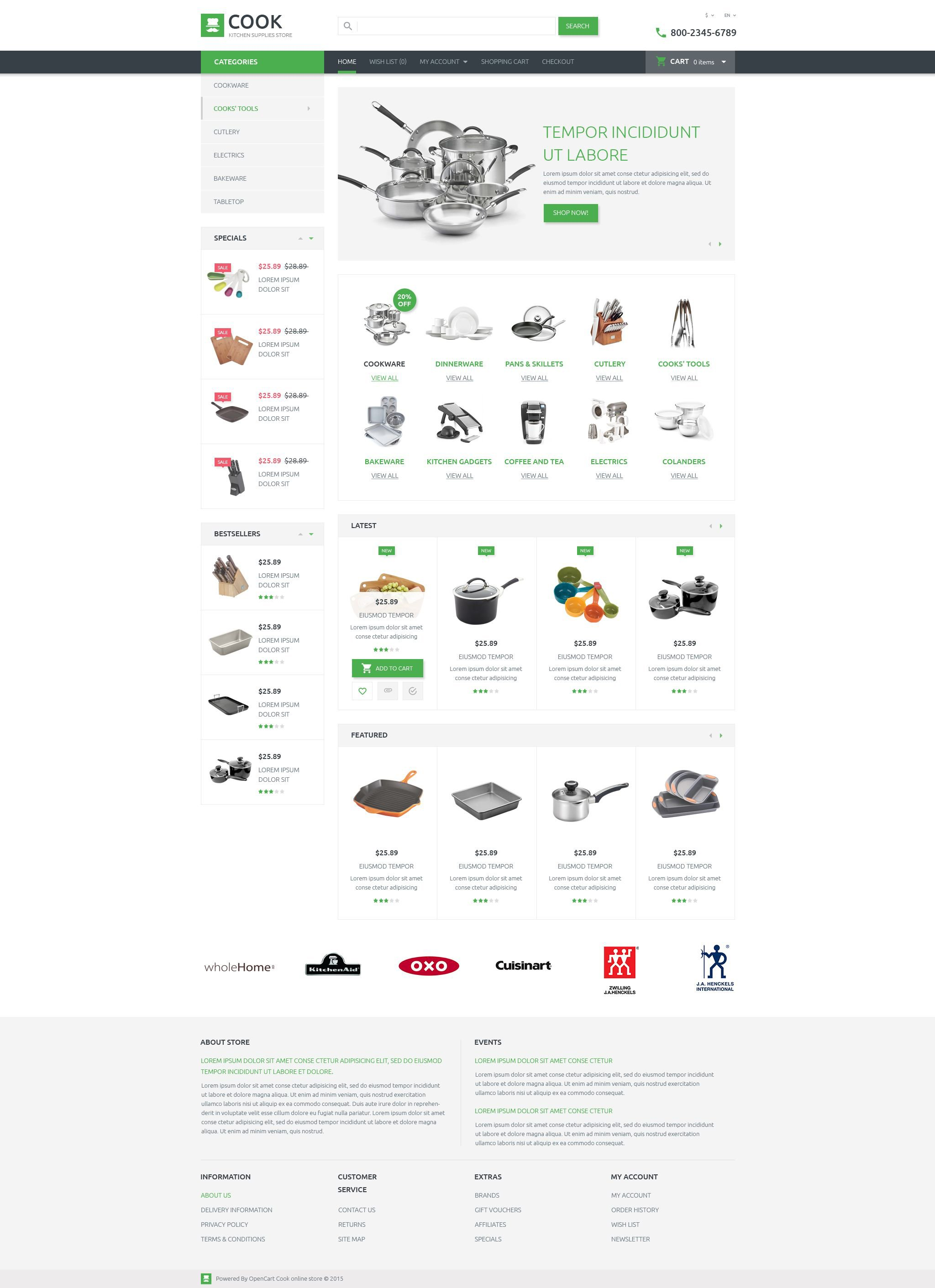 cookware opencart template kitchen supplies store opencart template